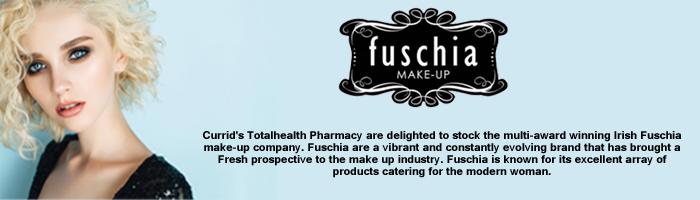 Currid's Totalhealth Pharmacy are delighted to stock theFmulti award winning Irish Fuschia make-up company. Fuschia are a vibrant and constantly evolving brand that has brought a Fresh prospective to the make up industry. Fuschia is known for its excellent array of products catering for the modern woman.